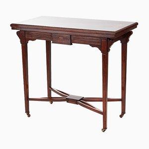 Table à Cartes Édouardienne Antique en Palissandre Marqueté
