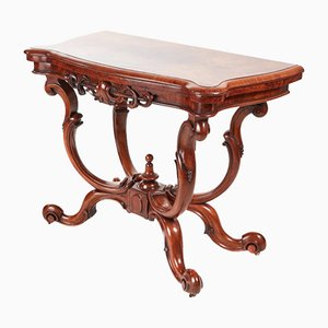 Table à Cartes Antique Victorienne en Loupe de Noyer, 1860