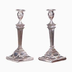 Antike versilberte George III Kerzenhalter, 2er Set
