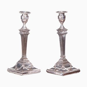 Antique George III Silver-Plated Candlesticks, Set of 2