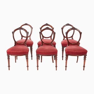 Antique Victorian Walnut Dining Chairs, 1860, Set of 6