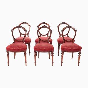 Sillas de comedor victorianas antiguas de nogal, 1860. Juego de 6