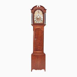 Orologio a pendolo antico in ottone e quercia con meccanismo a 8 giorni