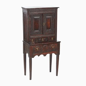 Small Antique Carved Oak Cupboard