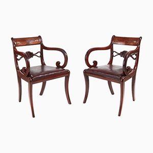 Sedie da ufficio antiche in ottone e mogano con intarsi, set di 2