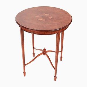 Tavolino di servizio rotondo antico in legno intarsiato
