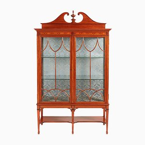 Antique Inlaid Satinwood Display Cabinet, 1880