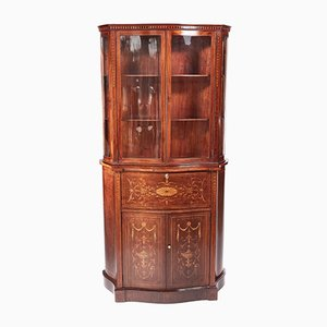 Antique Mahogany Inlaid Serpentine-Shaped Secretaire Bookcase