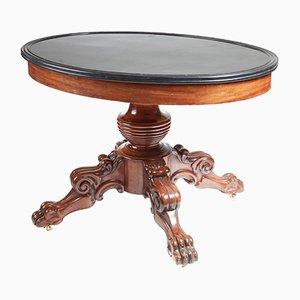 Table de Centre Antique Ovale avec Plateau en Marbre