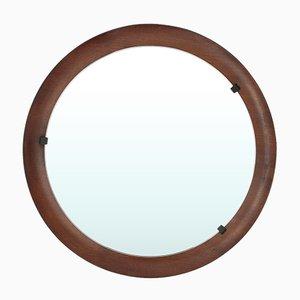 Espejo italiano redondo de contrachapado curvado, años 60