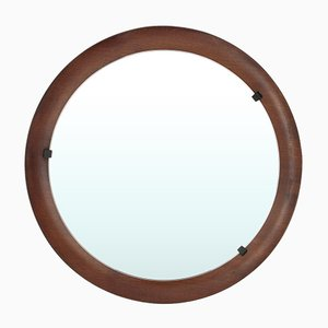 Italian Round Curved Plywood Mirror, 1960s