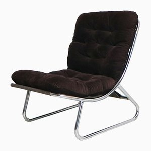 Mid-Century Danish Chrome Tubular Framed Lounge Chair, 1970s