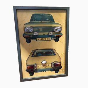 Lámpara de pared con coches, años 70