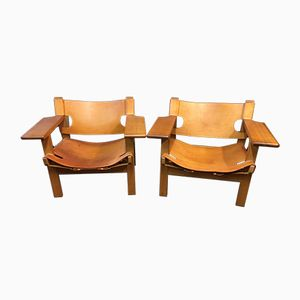 Oak and Saddle Leather Chairs by Borge Mogensen for Fredericia, 1950s, Set of 2