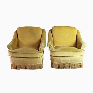 Mid-Century Danish Yellow Velour Lounge Chairs, Set of 2