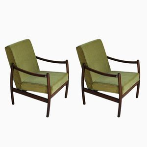 Vintage Light Green Velvet Easy Chairs, 1970s, Set of 2