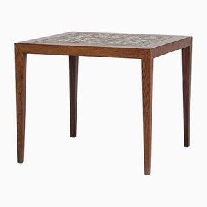 Tavolino vintage con ripiano in ceramica di Haslev Møbelsnedkeri