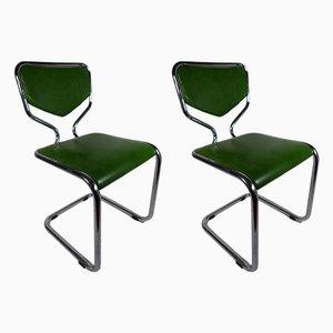 Chaises d'Appoint Vintage en Aluminium et Skaï, Set de 2