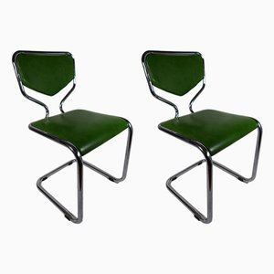 Vintage Aluminum & Skai Side Chairs, Set of 2