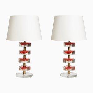 Vintage Tischlampen aus Muranoglas, 1980er, 2er Set