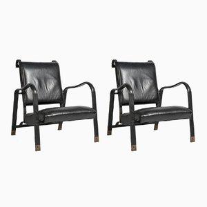 Vintage Sessel aus vernähtem Leder von Jacques Adnet, 2er Set