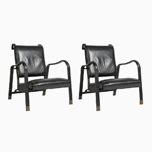 Vintage Stitched Leather Armchairs by Jacques Adnet, Set of 2