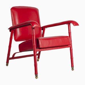 Vintage Sessel aus vernähtem Leder von Jacques Adnet, 1950er