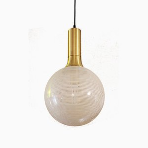 Vintage Glass & Metal Pendant Lamp