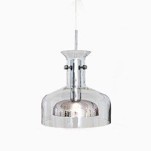 Lampada vintage in vetro e metallo cromato, 1972