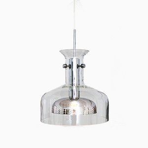 Vintage Glass & Chrome Pendant Lamp, 1972