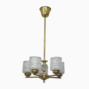 Vintage Small Brass Chandelier by Carl Fagerlund for Orrefors, 1960s