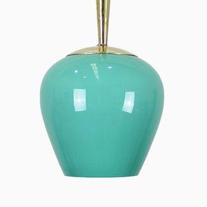 Mid-Century Opal & Brass Pendant Lamp, 1950s