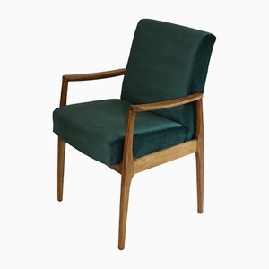 Vintage Teal Velvet Easy Chairs, 1980s, Set of 2
