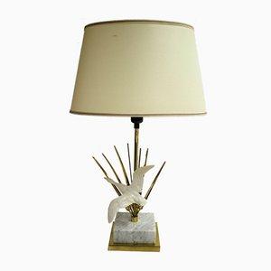 Lámpara de pie vintage en forma de pájaro de latón, años 70