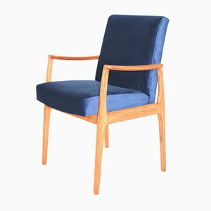 Vintage Blue Velvet Chairs, 1980s, Set of 4