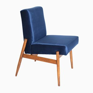 Vintage Blue Velvet Easy Chairs, 1970s, Set of 2