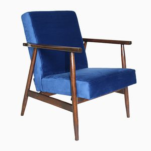 Vintage Blue Velvet Easy Chairs, 1970s, Set of 2