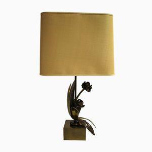 Vintage Bronze Flower Table Lamp, 1960s