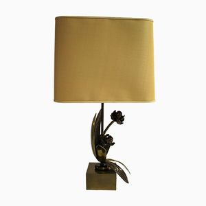 Vintage Tischlampe aus Bronze in Blumen-Optik, 1960er