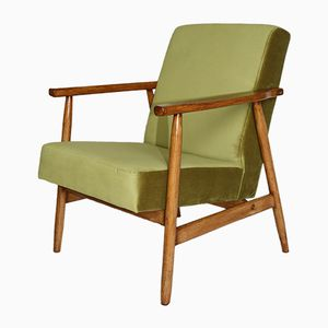 Vintage Light Green Velvet Easy Chair, 1970s