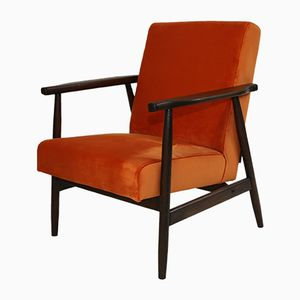 Vintage Orange Velvet Easy Chair, 1970s