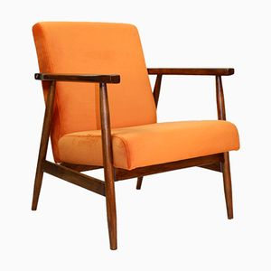 Fauteuil Vintage Orange en Velours, 1970s