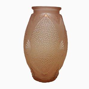 Große Art Deco Vase aus modelliertem Pressglas