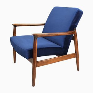 Vintage Blue Velvet Easy Chair by Edmund Homa, 1970s