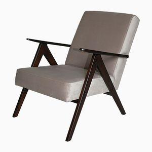 Vintage Var Beige Velvet Easy Chair, 1970s