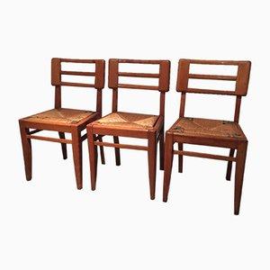 Französische Vintage Esszimmerstühle von Pierre Cruege, 1950er, 3er Set