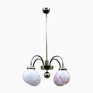 Lámpara de techo vintage en forma de globo de vidrio marmolado rosa, años 30