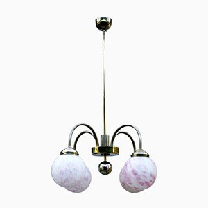Vintage Pink Marbled Globe Ceiling Lamp, 1930s