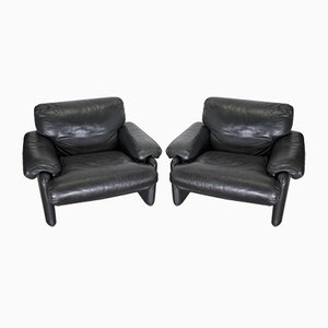 Vintage Leather Lounge Chairs by Tobia & Afra Scarpa for B&B Italia, 1970s, Set of 2
