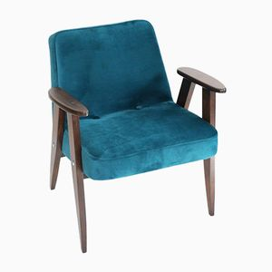 366 Vintage Teal Velvet Easy Chair by Jozef Chierowski, 1970s